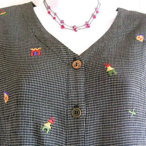 Teddi | Vintage Embroidery Accented Blouse